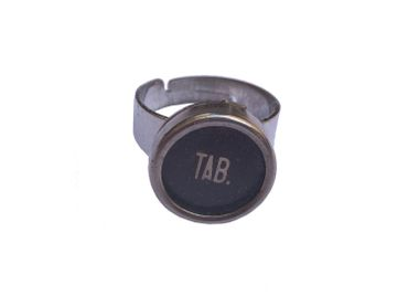 Tab Key Ring Vintage Typewriter Keys Miniblings Upcycling Black