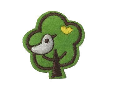 Baum Bügelbild Aufnäher Aufbügler Miniblings Bäumchen Wald mit Vogel 4x3 5cm – Bild 1