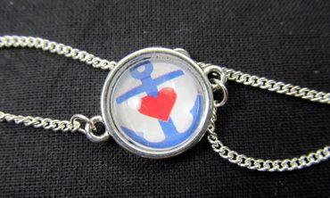 Anchor Bracelet Wristlet Dangle Cabochon Motive Glass Miniblings Boat Anchor And Heart 18cm – Bild 3