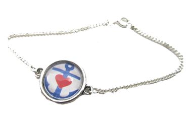 Anchor Bracelet Wristlet Dangle Cabochon Motive Glass Miniblings Boat Anchor And Heart 18cm – Bild 4