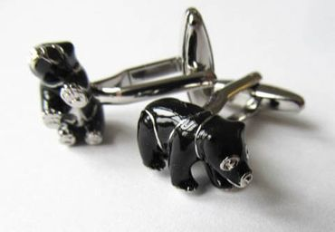 Enamelled Bear Cuff Links Cufflinks Miniblings With Box Bears Zoo Black Bear – Bild 3