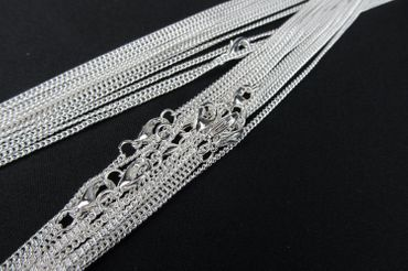 12X Curb Link Chain Necklace 2.4mm DIY Miniblings Necklace Silver Plated Lobster Clasp 45cm – Bild 6