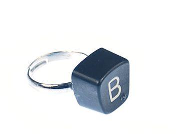 Buchstaben Ring B Vintage Schreibmaschinentaste Miniblings Unikat eckig B – Bild 1