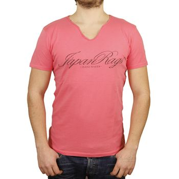 **CLEARANCE** JAPAN RAGS Men's T-shirt Heron V-neck - pink – Bild 1
