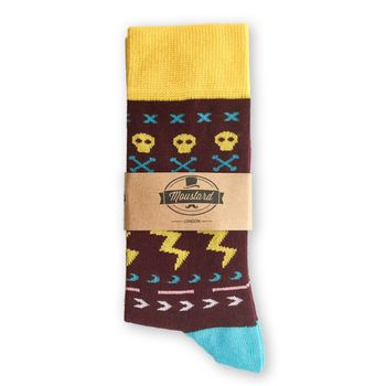 MOUSTARD Men's Socks Thunderskull - brown  – Bild 2