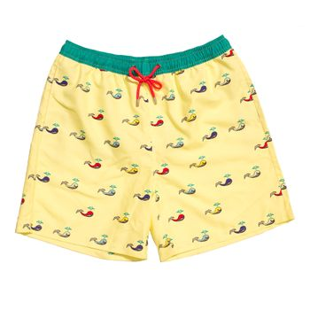 UNABUX Swim Short Coloured Whale - light yellow with coloured whales – Bild 1