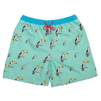 UNABUX Swim Short Tucan Bird - turquoise with tucans – Bild 1