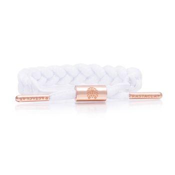 RASTACLAT Women's Braided Shoelace Bracelet Kim - white/peach gold – Bild 1