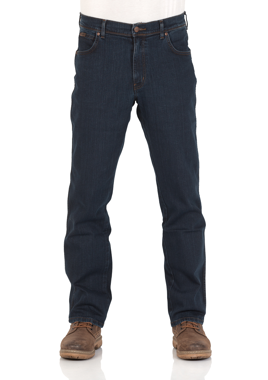 Wrangler Texas Stretch Herren Jeans Regular Fit Blue Black Black Overdye Darkstone Stonewash