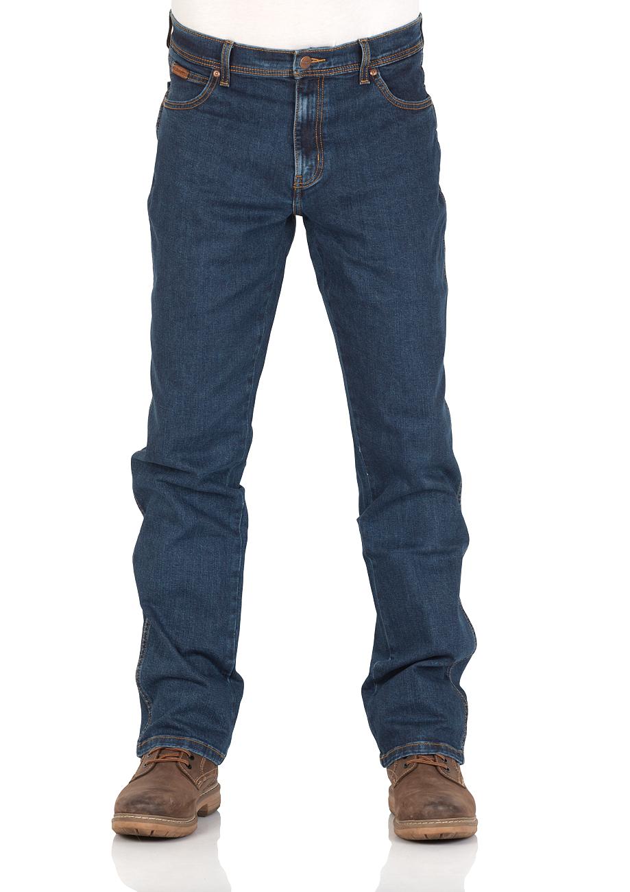 Wrangler Texas Stretch Herren Jeans Regular Fit Blue Black Black Overdye Darkstone Stonewash