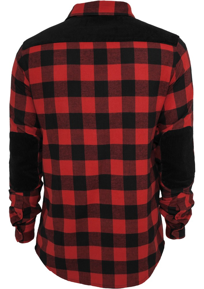 Urban Classics Cord Patched Checked Flanell T-Shirt - Regular Fit