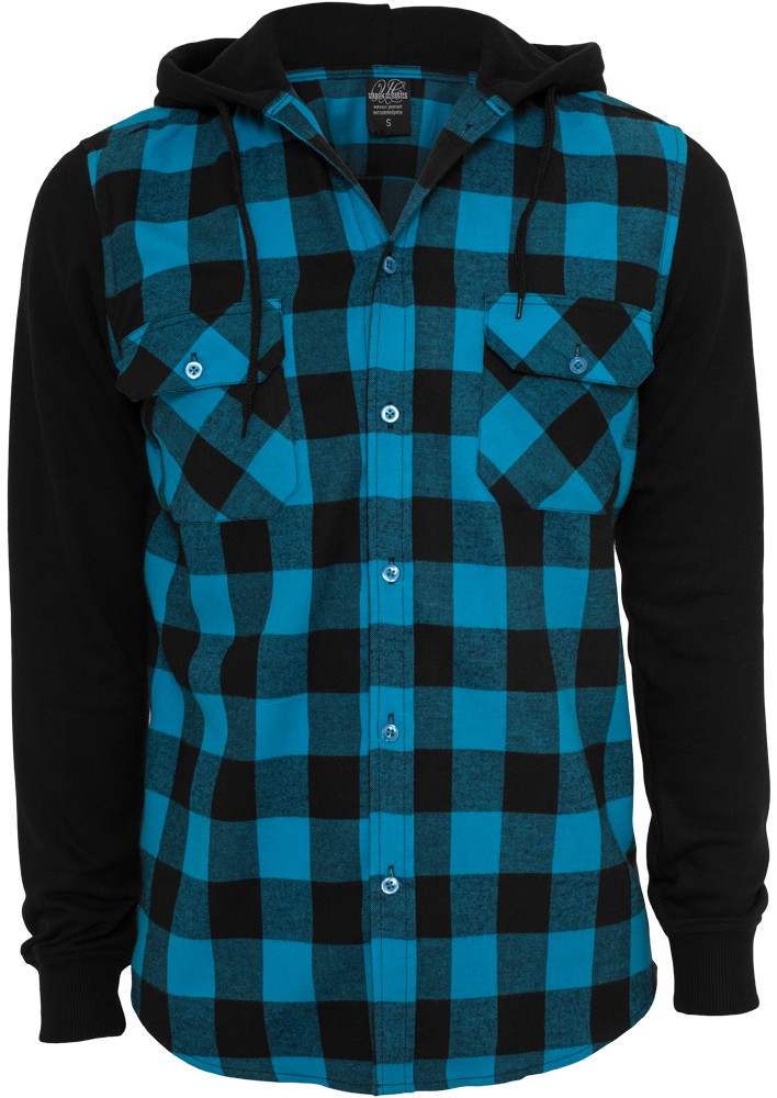 Urban Classics Hooded Checked Flanell Sweat SLeeve T-Shirt - Regular Fit