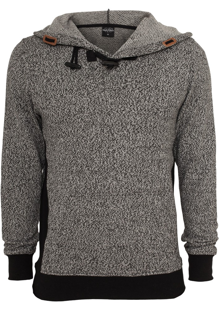 Urban Classics Herren Melange Knitted Kapuzenpullover - Regular Fit - Black - Grey-Black
