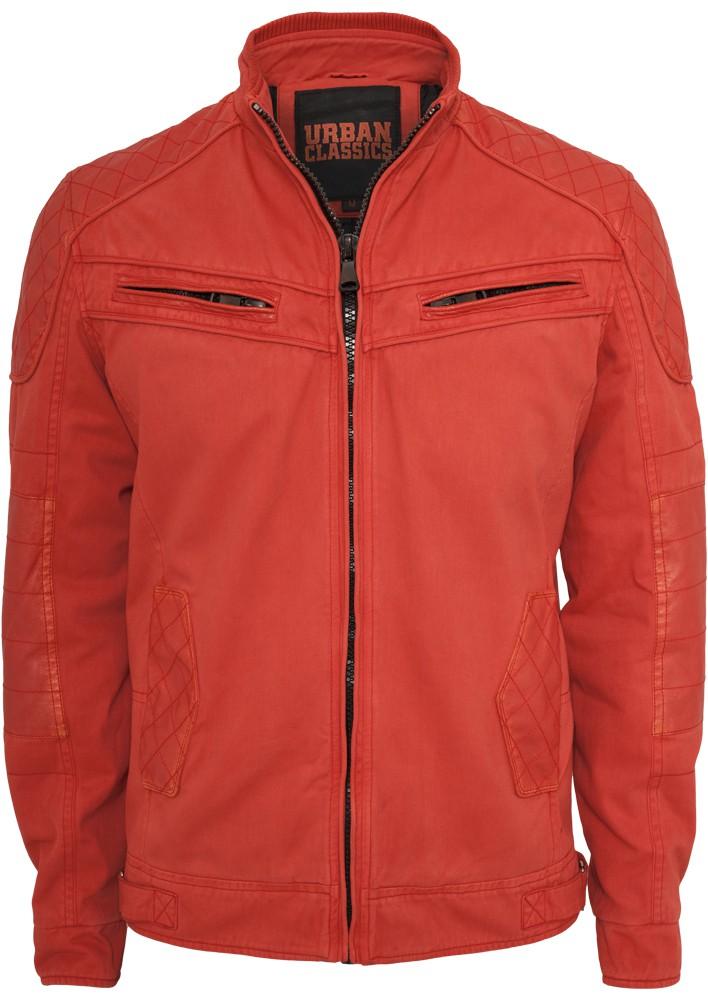 Urban Classics Herren Cotton/Leathermix Racer Jacke