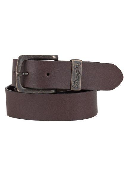 Wrangler Herren Jeans Leder Gürtel - Double Stitched - Brown