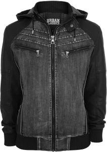Urban Classics Herren Jacke Hooded Denim Leather Jacke