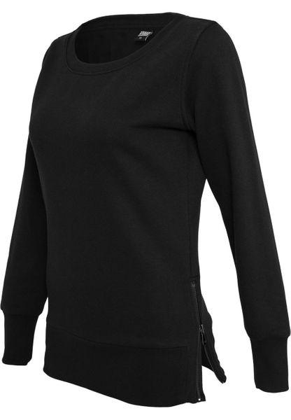 Urban Classics Damen Sweatshirt Damen Side Zip Long Crewneck