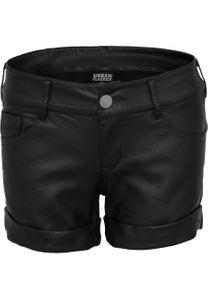 Urban Classics Damen Imitation Leather Hot Shorts