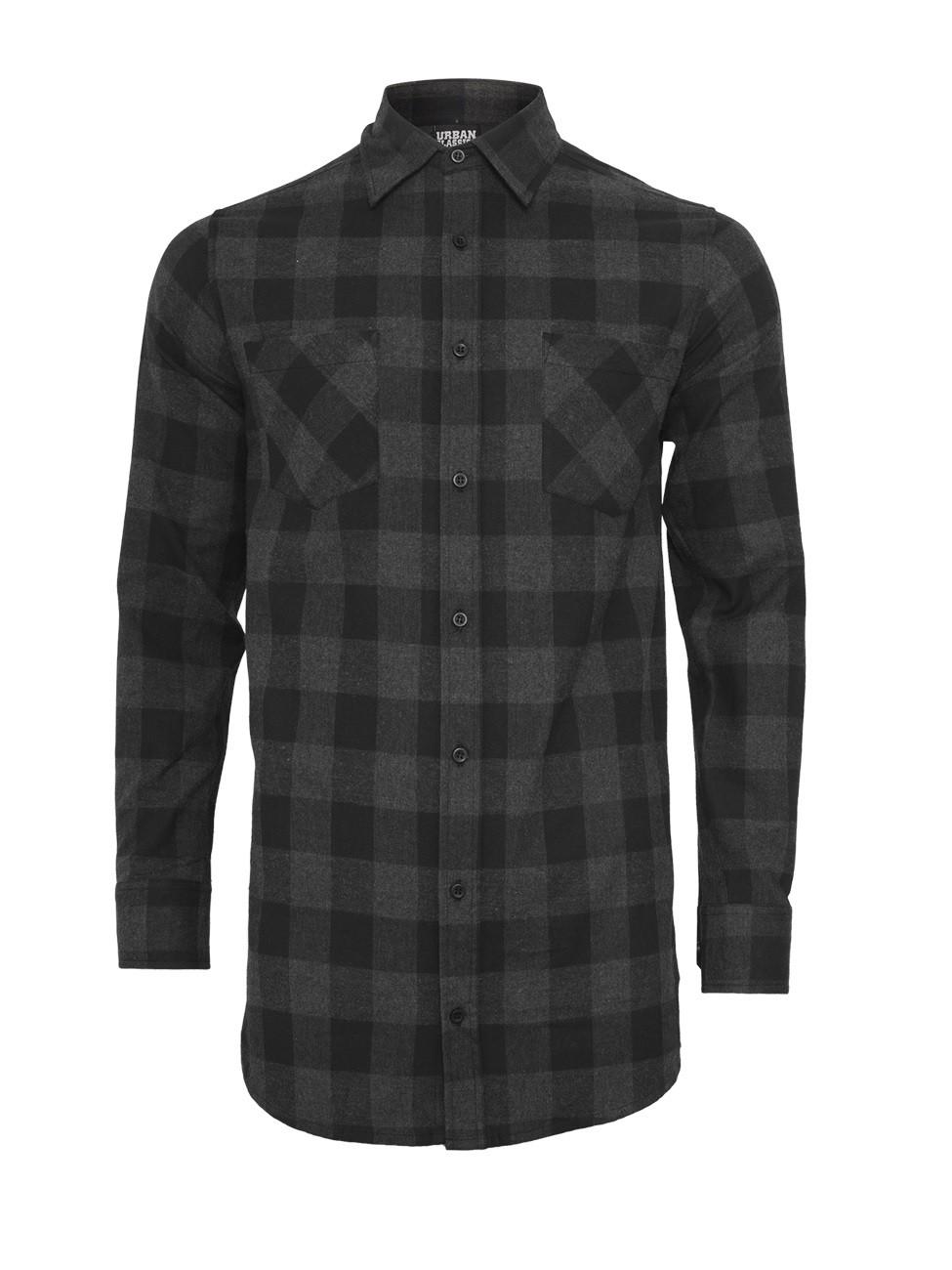 Urban Classics Herren Long Checked Flanell T-Shirt