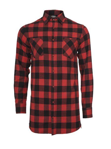 Urban Classics Herren Side-Zip Long Checked Flanell T-Shirt