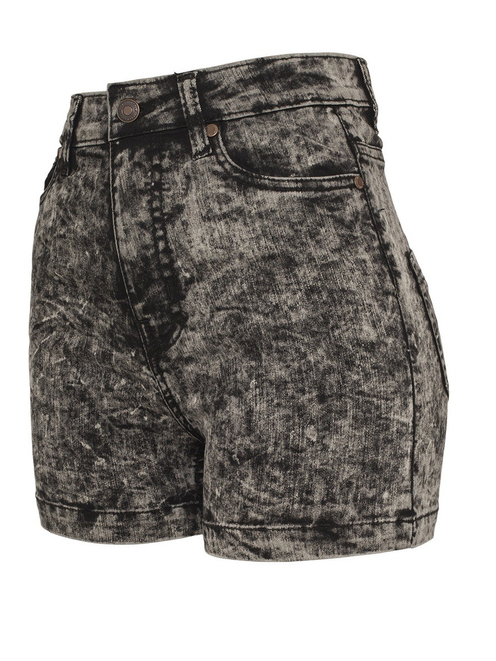 Urban Classics Damen High Waist Denim Skinny Shorts