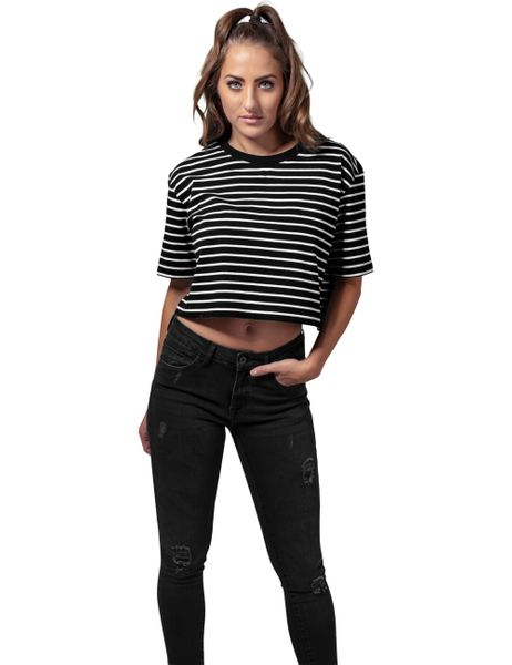 Urban Classics Damen Shirt Ladies Short Striped Oversized Tee