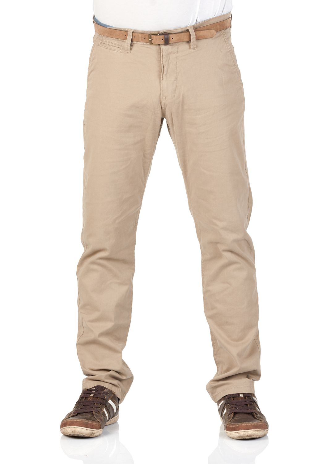 093632ee0029 ... Tom Tailor Herren Chino Hose Travis mit Gürtel - Slim Fit - Beige -  Chinchilla