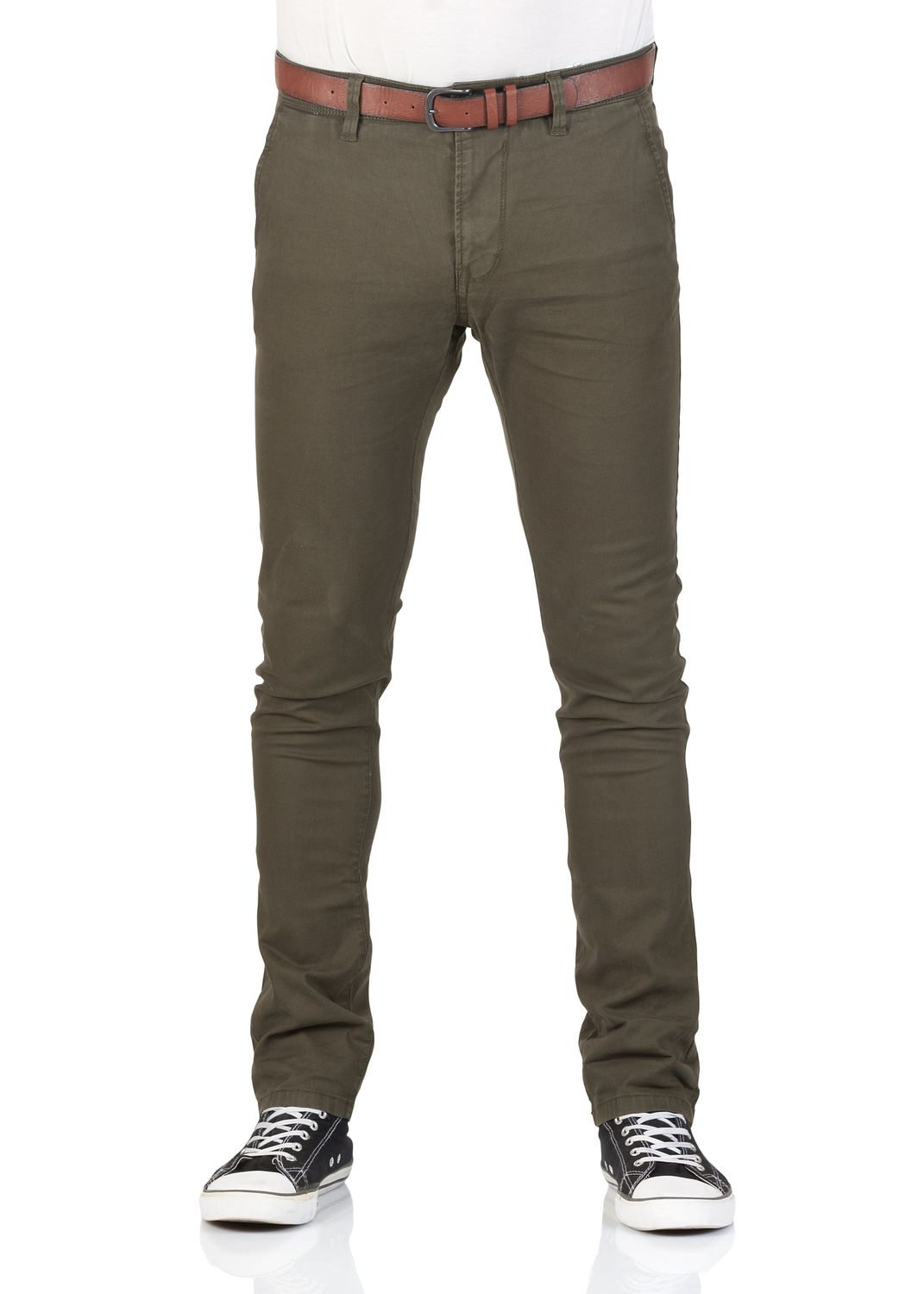 31d7969f832e Tom Tailor Denim Herren Chino Hose - Skinny Fit - Grün - Woodland Green