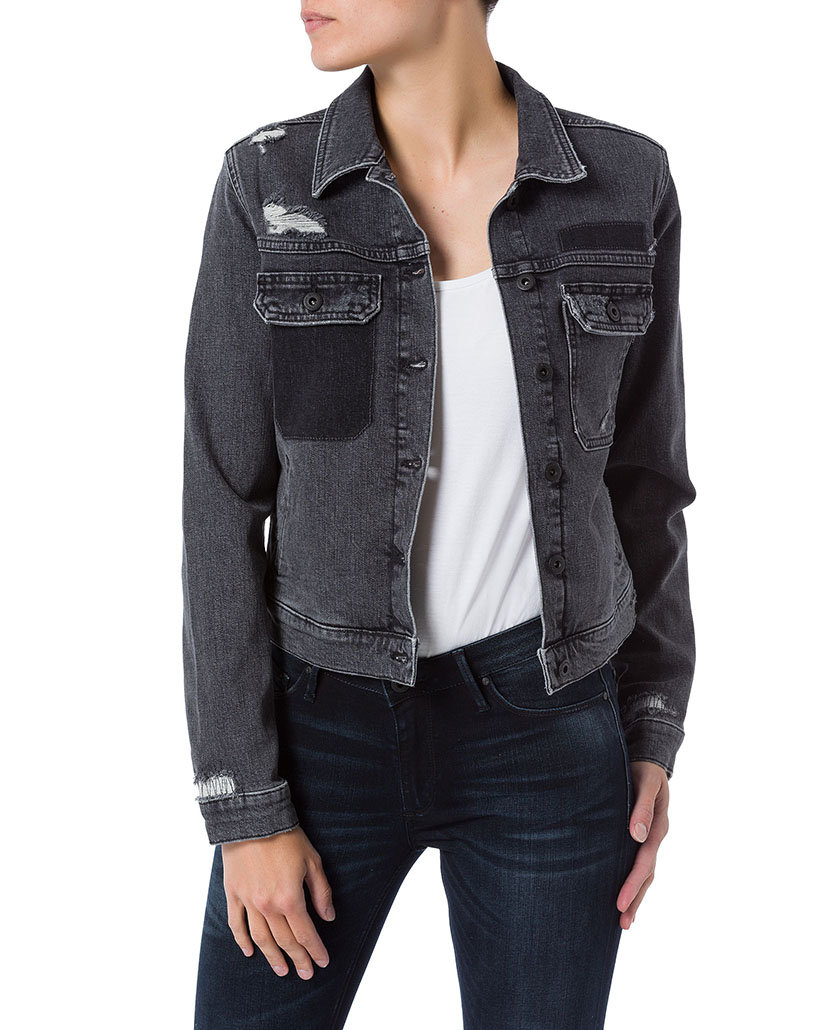 Cross Jeans Damen Jeansjacke - Destroyed - Grau - Grey kaufen ... d9e363d4aa