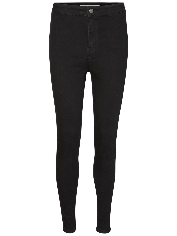 Noisy May Damen Jeans NMELLA SUPER HW JEANS GU304 - Super Slim Fit - Schwarz - Black