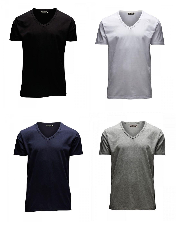 Jack & Jones Herren T-Shirt O-Neck & V-Neck 4er Pack