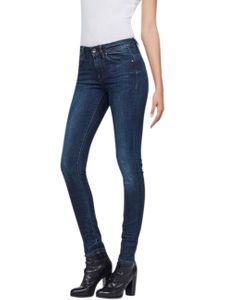 G-Star Damen Jeans Midge Zip Mid Waist - Skinny Fit - Blau - Dark Aged