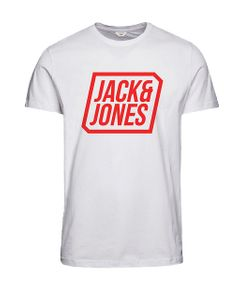 Jack & Jones Herren T-Shirt JCOSATURDAY TEE SS CREW NECK - Slim Fit - Weiß - White