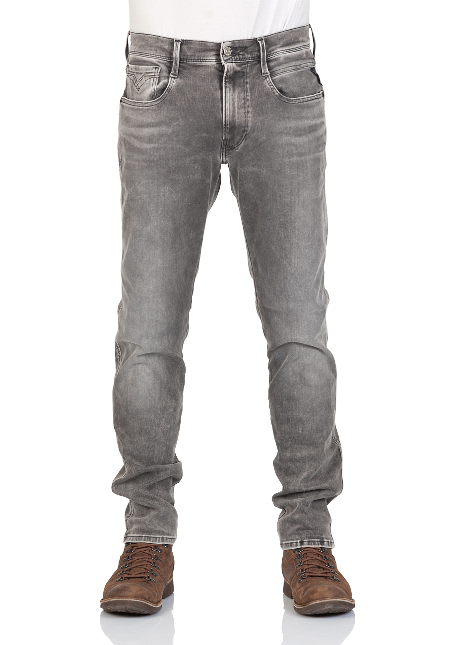 klassischer Chic Einzelhandelspreise guter Verkauf Replay Herren Jeans Anbass - Slim Fit - Grau - Grey Denim - Hyperflex