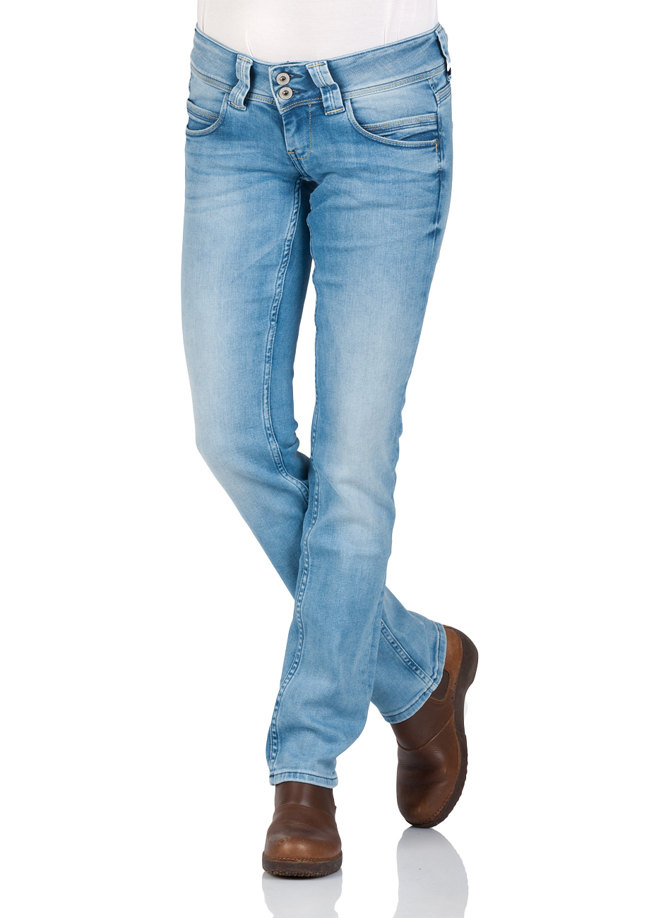 Pepe Jeans Damen Jeans Venus - Regular Fit - Blau - Light Blue Denim