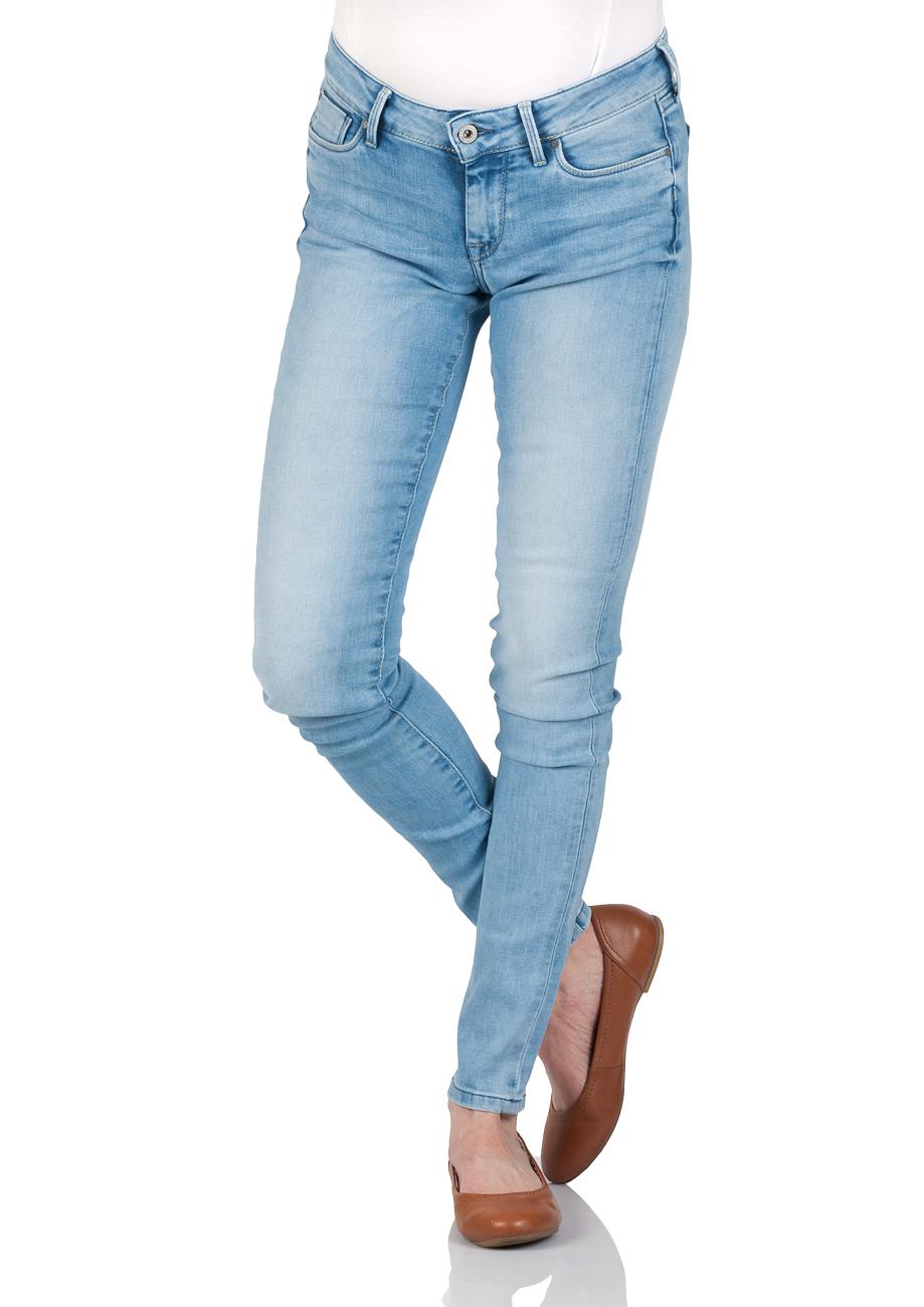 Pepe Jeans Damen Jeans Soho Regular Fit Blau Light Blue Denim