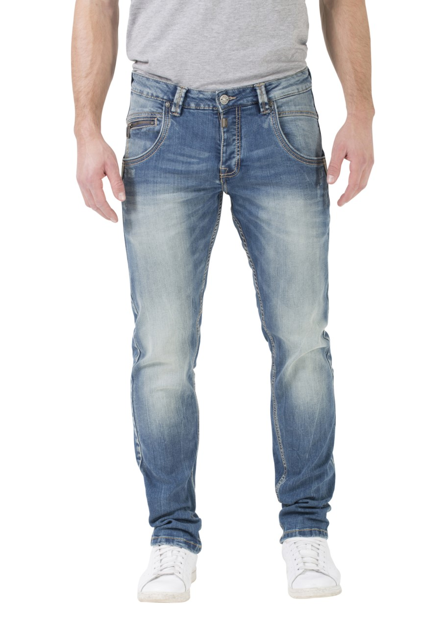 Timezone Herren Jeans Regular Harold Rough - Regular Fit - Blau - Light Indigo Wash