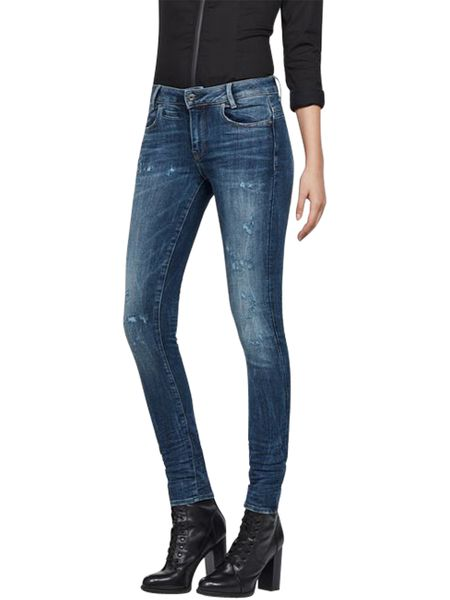 G-Star Damen Jeans D-Staq Mid Waist - Skinny Fit - Blau - Medium Aged Restored 177