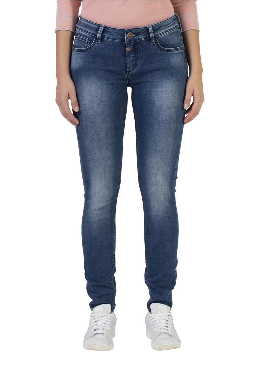 Timezone Damen Jeans Aleena Tight Fit Blau Bright Blue Wash
