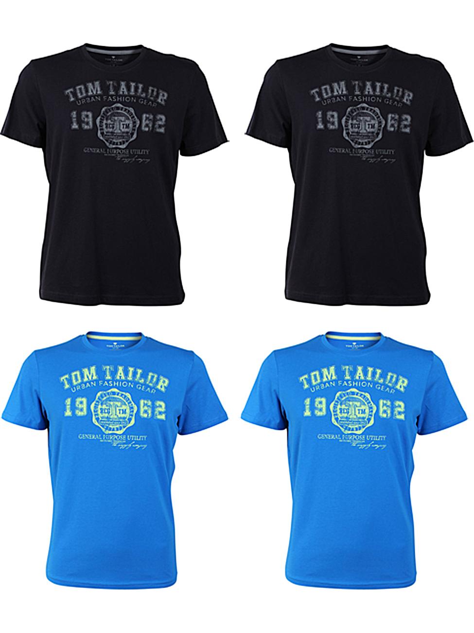 4er Pack - Tom Tailor Herren Rundhals T-Shirt Logo Tee Basic