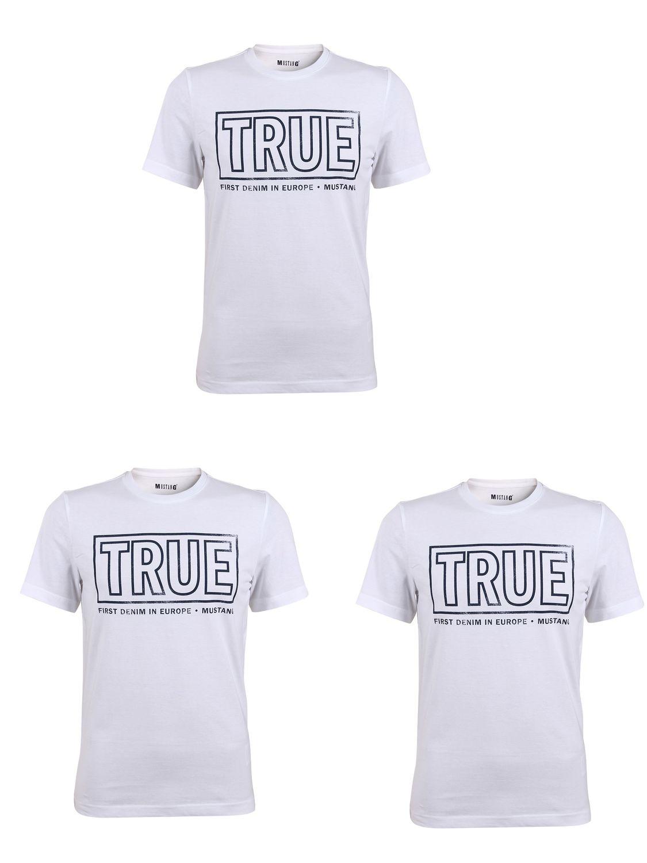 3er Pack Mustang Herren T-Shirt `TRUE` Logo Special Tee - Farbmix