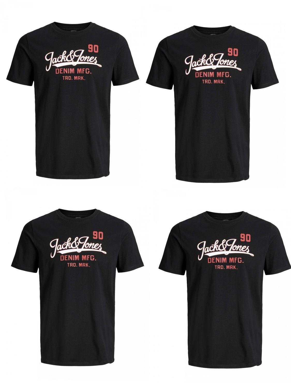 4er Pack Jack & Jones Herren T-Shirt JJELOGO TEE SS CREW NECK TWO COLOR