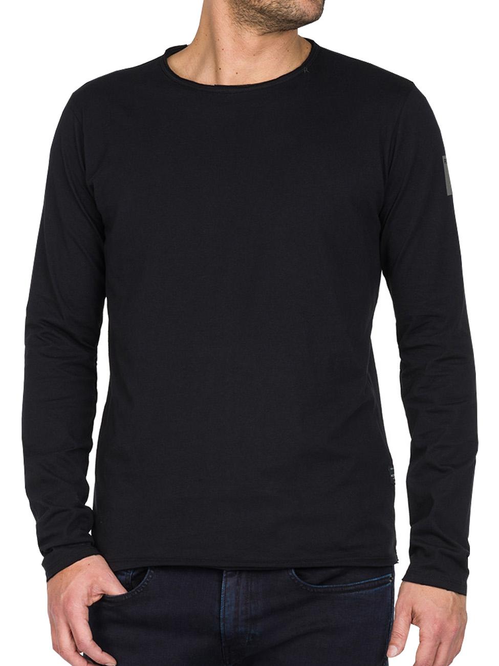 Replay Herren Langarm-Shirt Basic Jersey Crew Neck