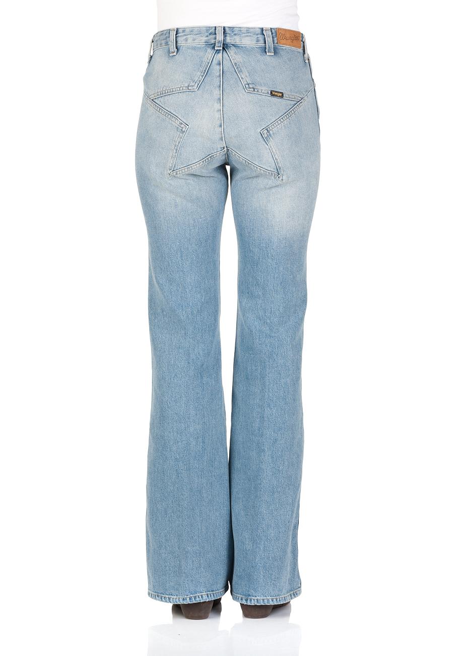 Wrangler Damen Jeans Retro Star - Flare Fit - Blau - Glaston