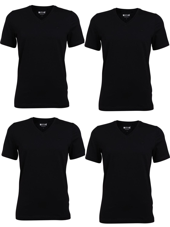 Mustang Herren V-Neck und Crew-Neck T-Shirt Basic in verschiedenen Varianten 4er Pack