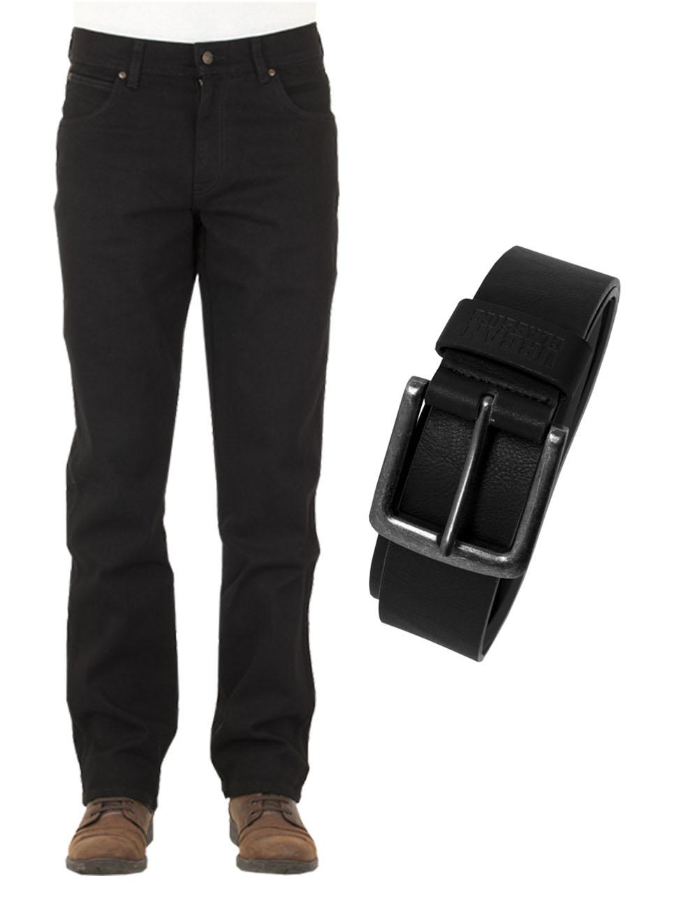 908772fccc4a Wrangler Herren Jeans Durable Stretch - Regular Fit mit Urban Classics  Gürtel