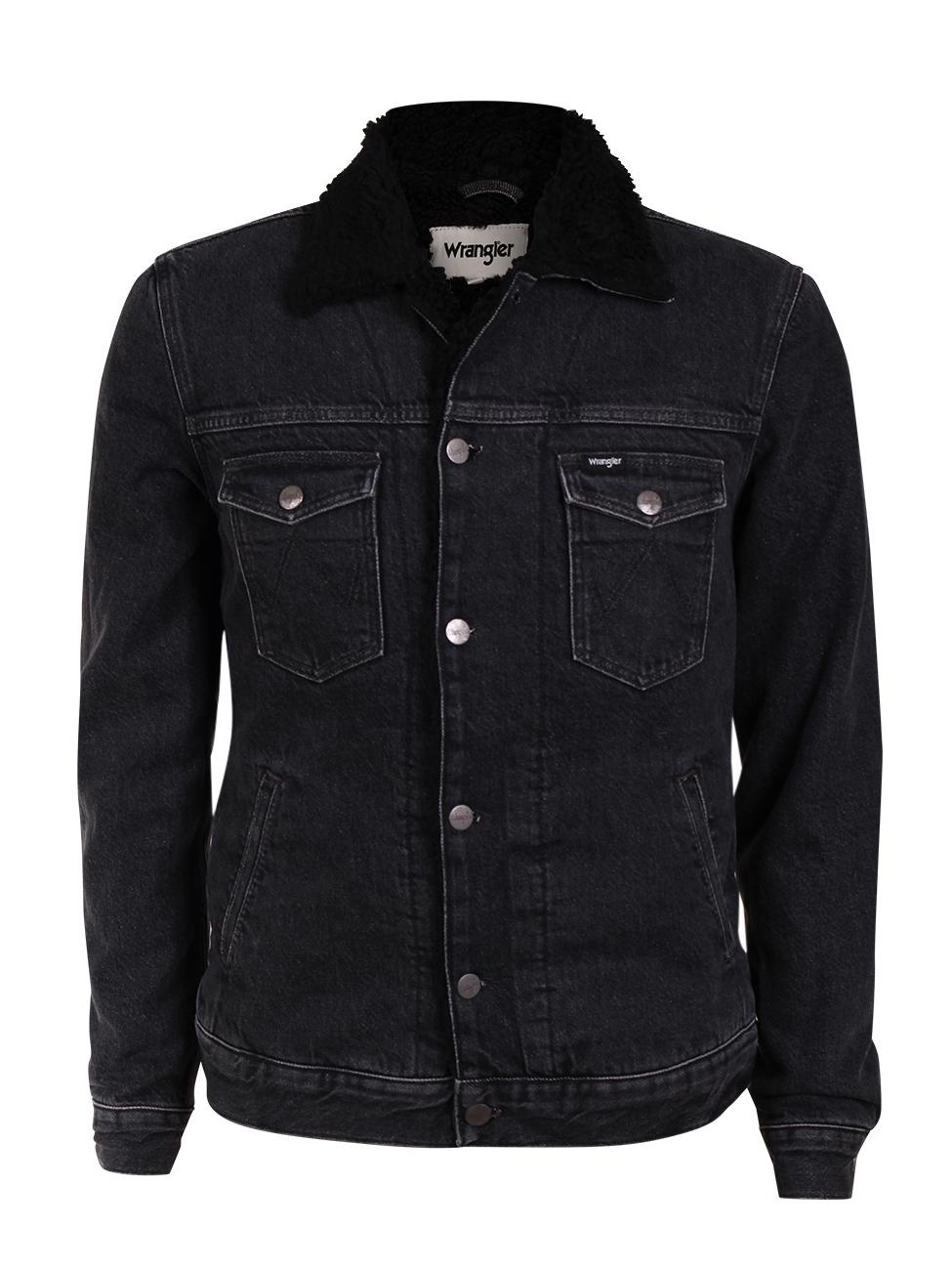 wrangler herren jeansjacke sherpa jacket schwarz midnight stone kaufen jeans direct de. Black Bedroom Furniture Sets. Home Design Ideas