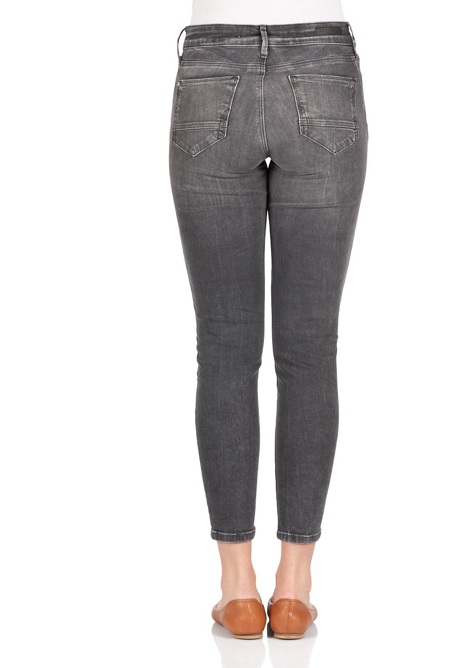 Mavi Damen Jeans Adriana Ankle - Super Skinny Fit - Grau -  - Dark Grey Distressed Glam