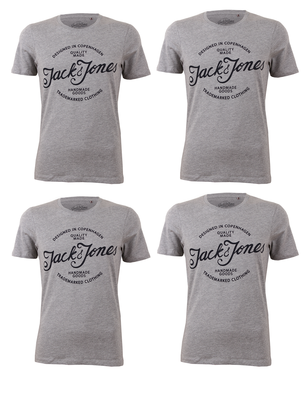 Jack & Jones Herren T-Shirt JJEJAFFAR TEE SS CREW NECK - Slim Fit im 4er Pack