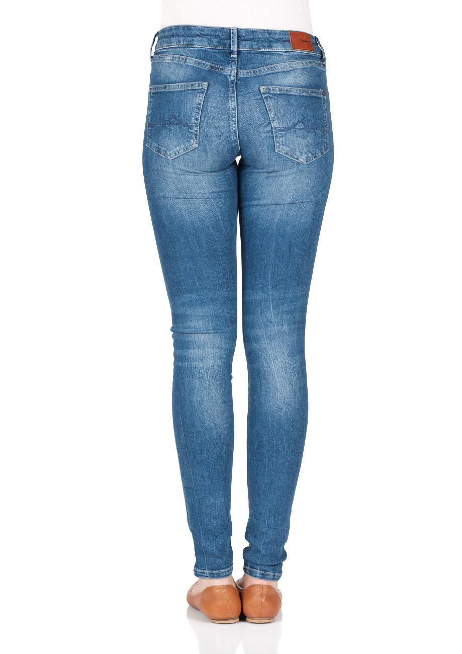 Pepe Jeans Damen Jeans Pixie Skinny Fit Blau Denim